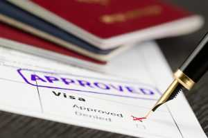 Close up of a visa form